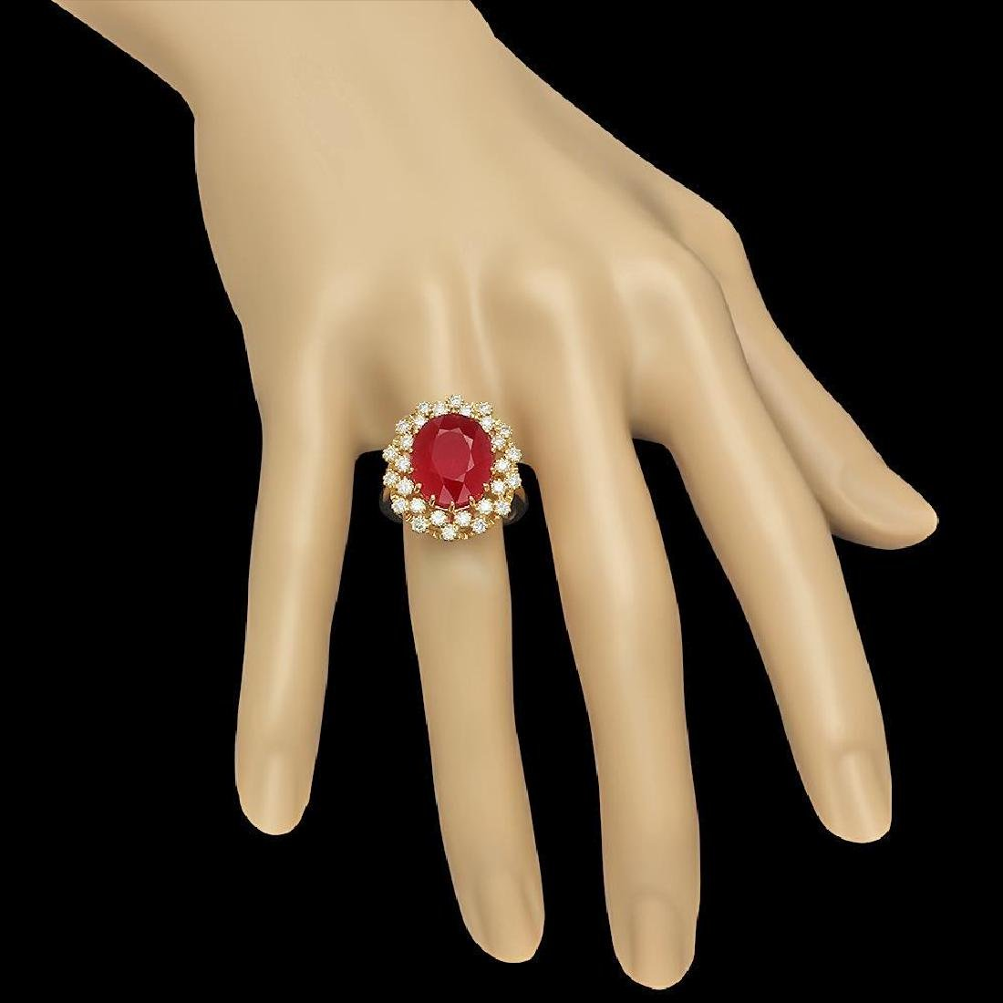 14K Gold 9.55ct Ruby 0.98ct Diamond Ring - 3