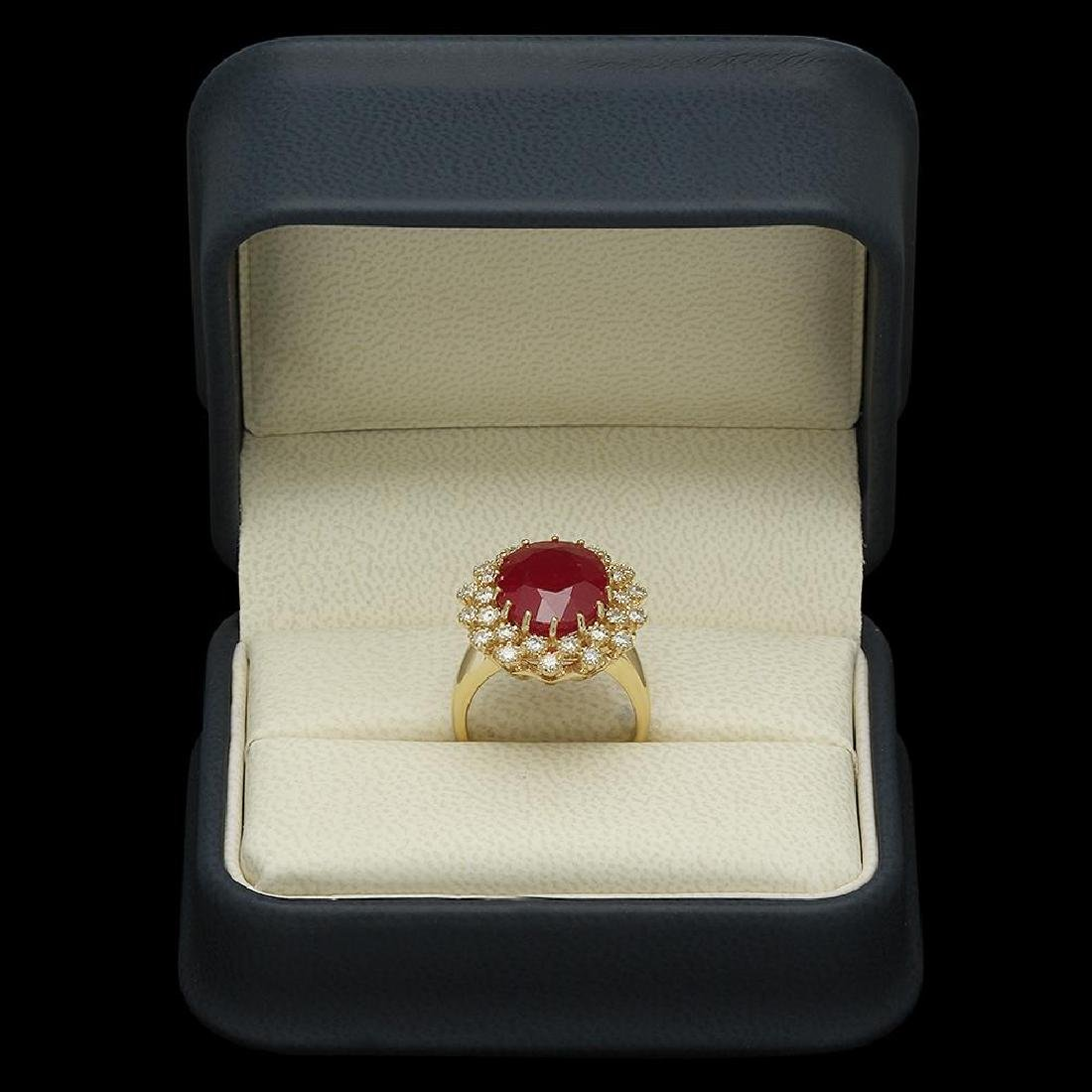 14K Gold 9.55ct Ruby 0.98ct Diamond Ring - 4