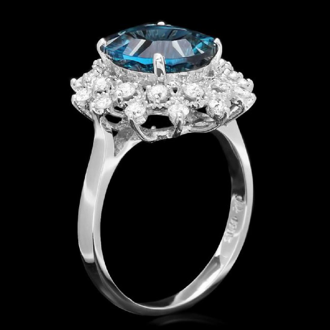14k White Gold 3.80ct Topaz 0.65ct Diamond Ring - 2
