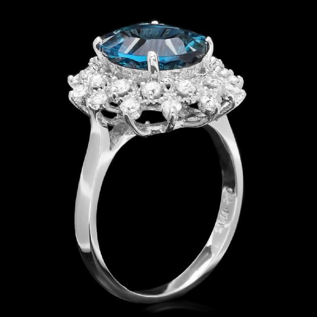 14k White Gold 3.80ct Topaz 0.65ct Diamond Ring - 2