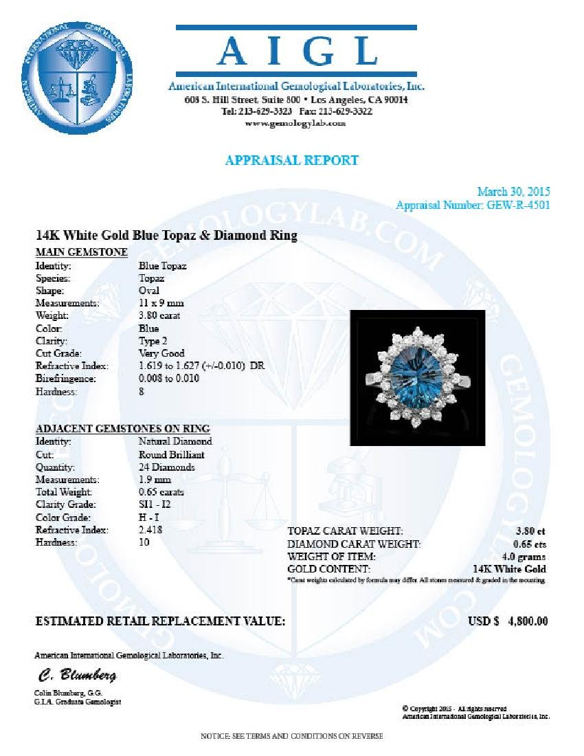 14k White Gold 3.80ct Topaz 0.65ct Diamond Ring - 4