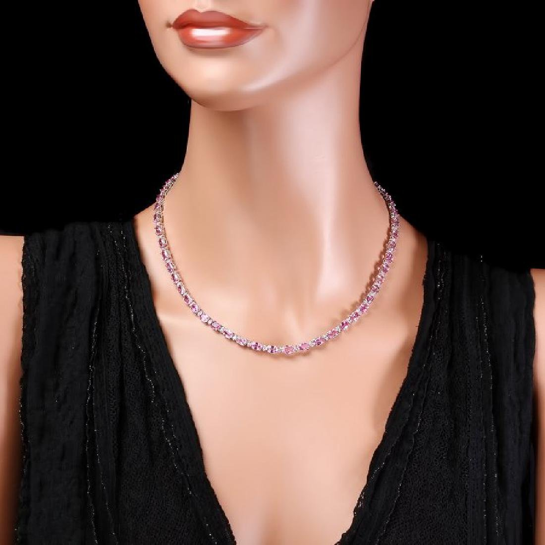 14k Gold 26ct Sapphire 1.00ct Diamond Necklace - 3