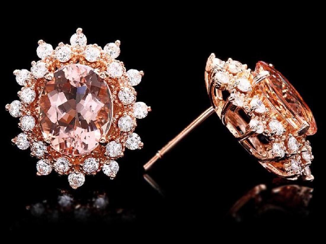 14k Rose 5ct Morganite 1.25ct Diamond Earrings - 3