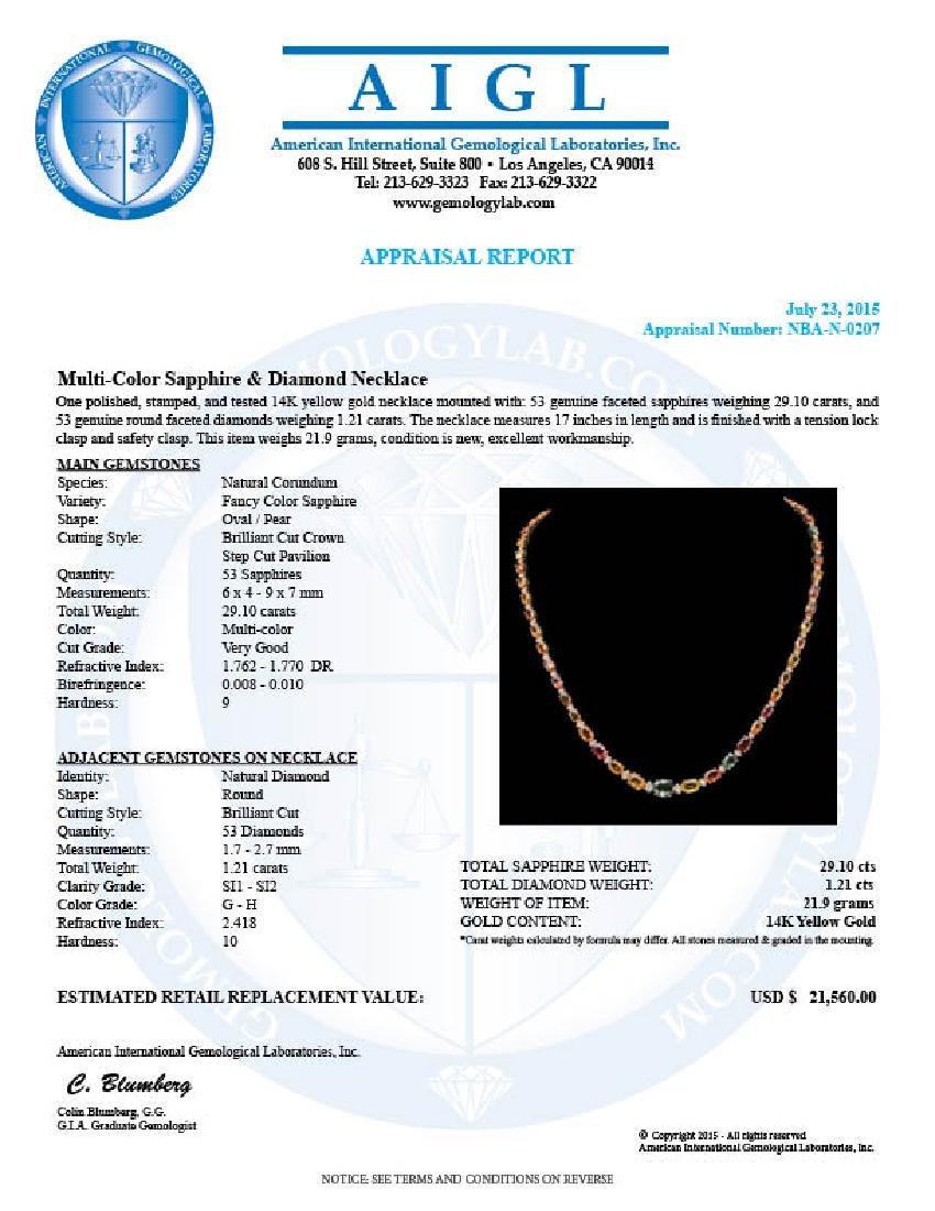 14K Gold 27.10ct Multi-Color Sapphire & 1.21ct Diamond - 3