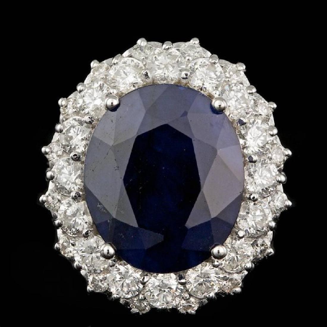 14k Gold 7.50ct Sapphire 1.75ct Diamond Ring