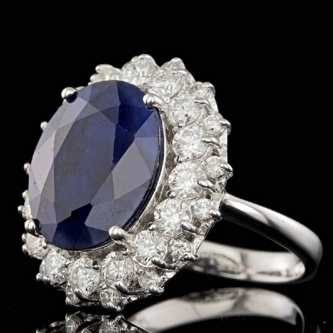 14k Gold 7.50ct Sapphire 1.75ct Diamond Ring - 2
