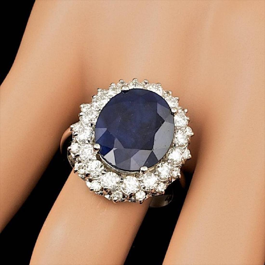 14k Gold 7.50ct Sapphire 1.75ct Diamond Ring - 3