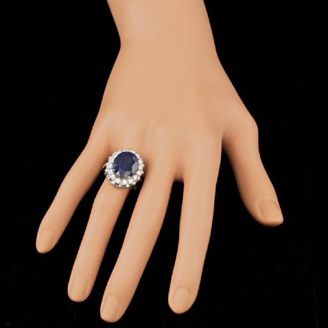 14k Gold 7.50ct Sapphire 1.75ct Diamond Ring - 4