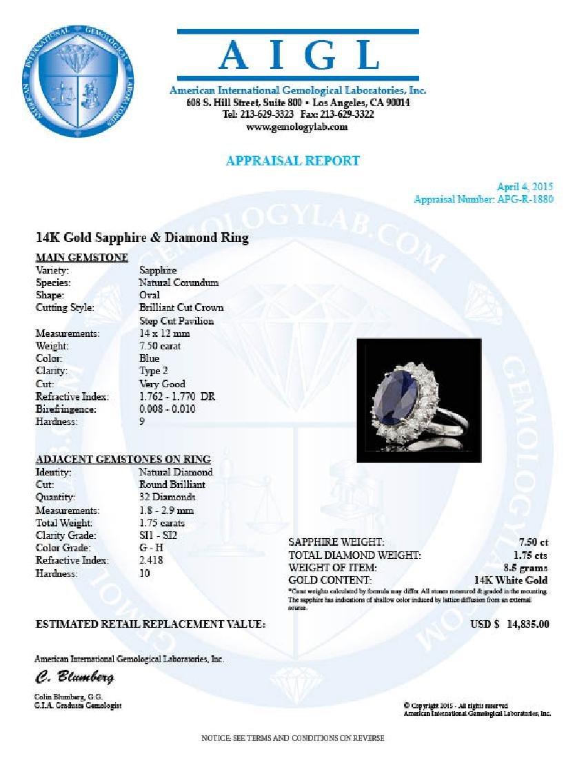 14k Gold 7.50ct Sapphire 1.75ct Diamond Ring - 5