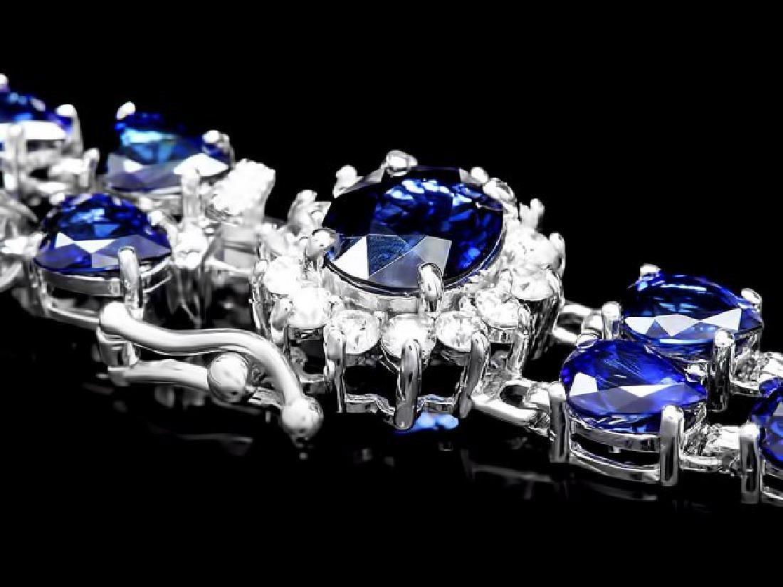 14k Gold 26ct Sapphire 0.60ct Diamond Bracelet - 3