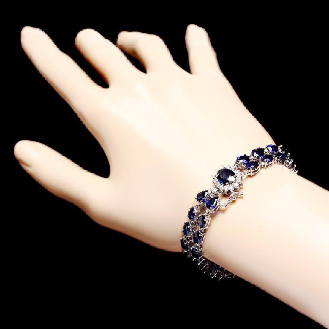 14k Gold 26ct Sapphire 0.60ct Diamond Bracelet - 4
