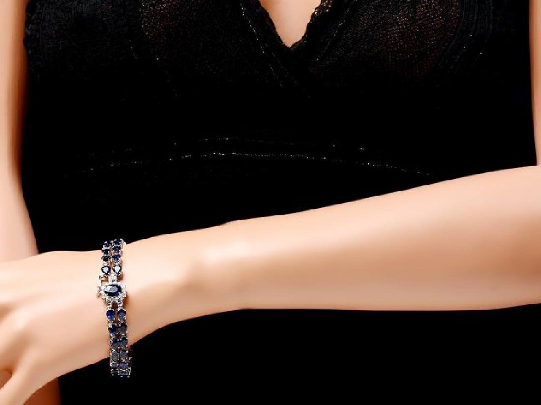14k Gold 26ct Sapphire 0.60ct Diamond Bracelet - 5