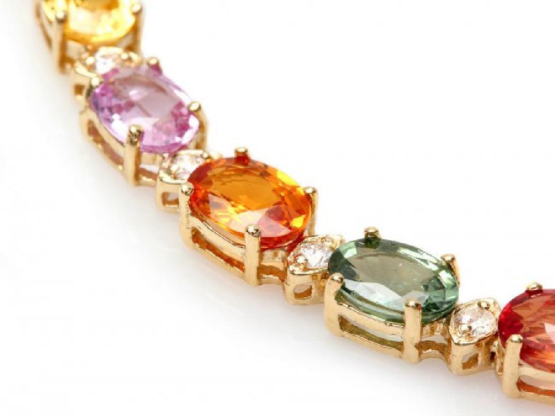 14k Gold 17ct Sapphire .70ct Diamond Bracelet - 2