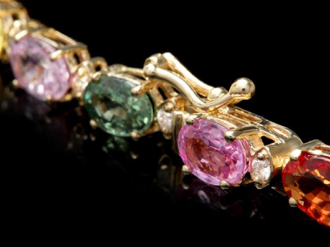14k Gold 17ct Sapphire .70ct Diamond Bracelet - 3