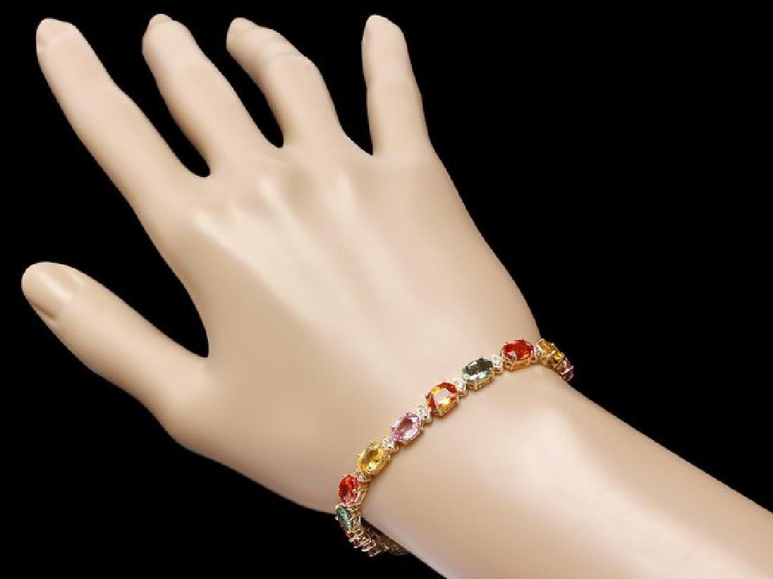 14k Gold 17ct Sapphire .70ct Diamond Bracelet - 4