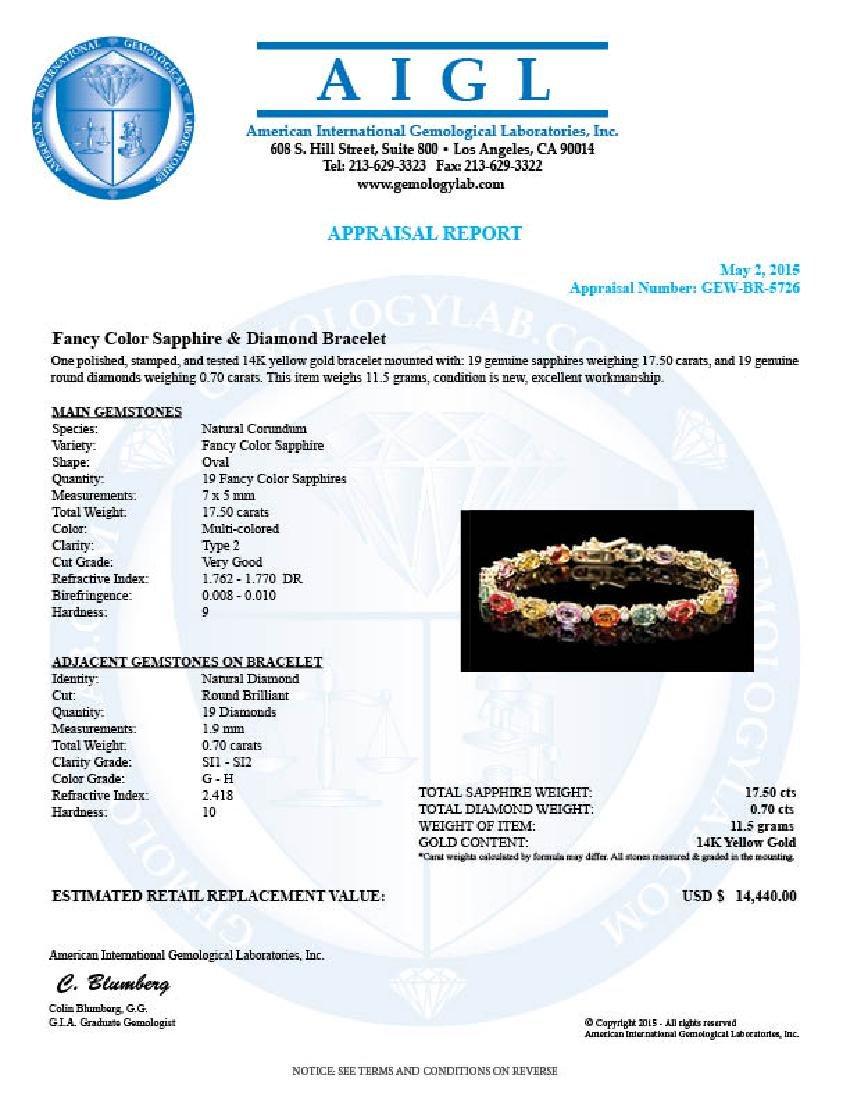 14k Gold 17ct Sapphire .70ct Diamond Bracelet - 6