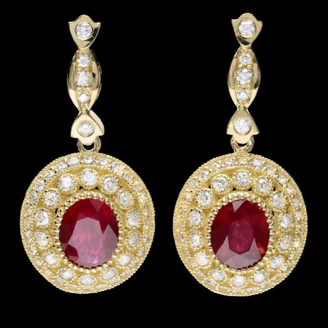 14k Gold 7.50ct Ruby 2.60ct Diamond Earrings