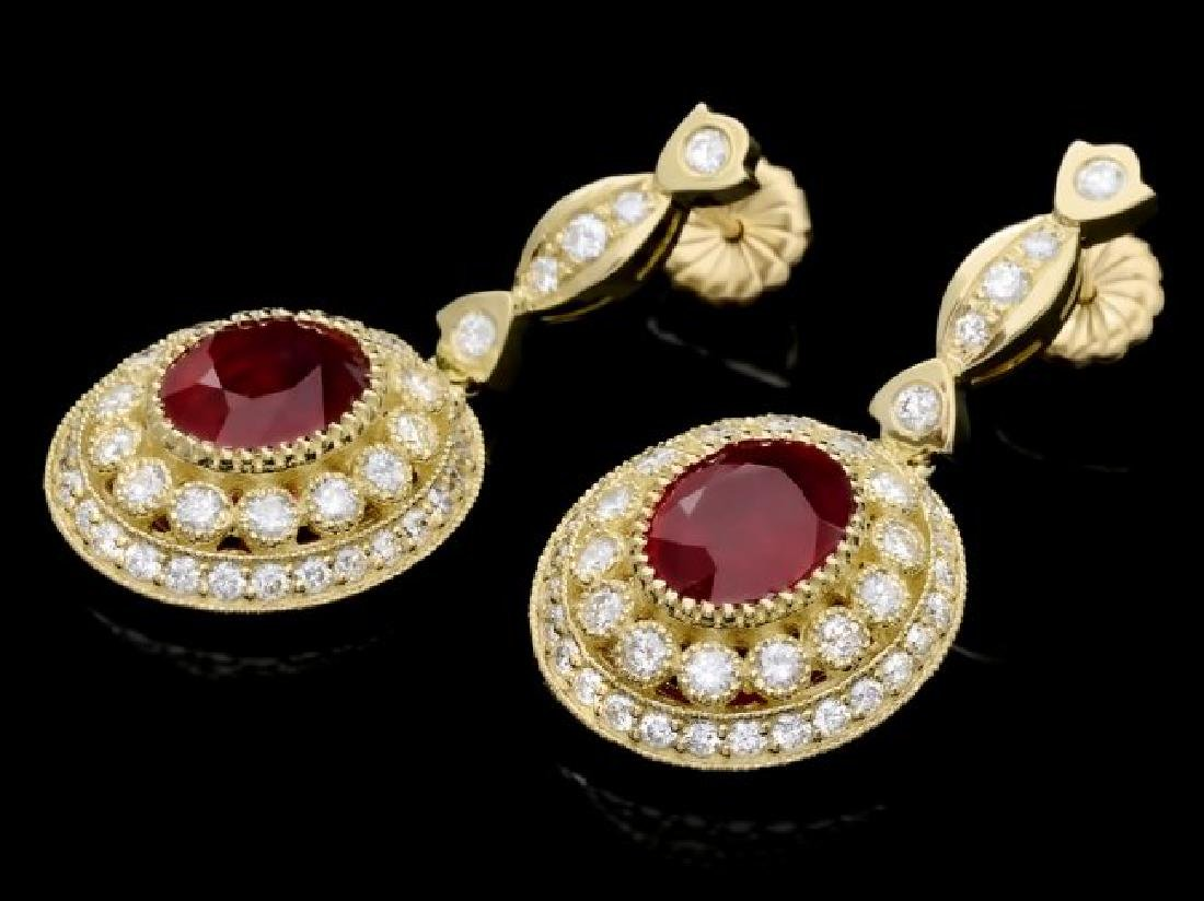 14k Gold 7.50ct Ruby 2.60ct Diamond Earrings - 3