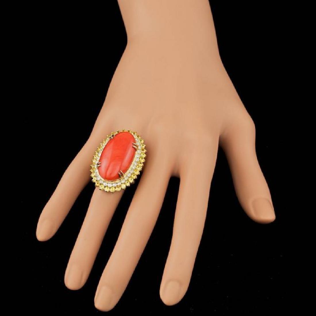 14k Yellow Gold 19.00ct Coral 1.50ct Diamond Ring - 4