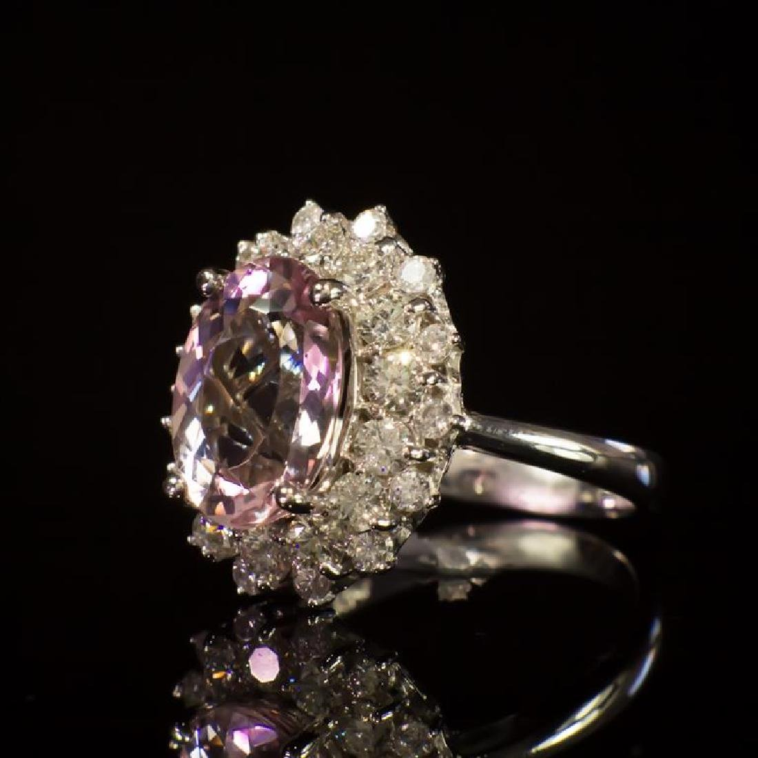 14K Gold 3.84ct Morganite 1.50ct Diamond Ring - 2