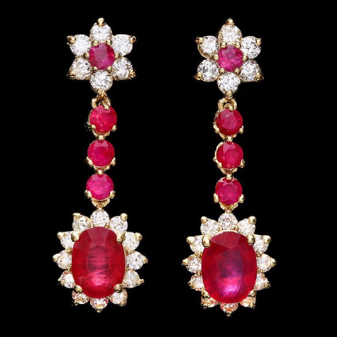 14k Yellow Gold 5ct Ruby 1.60ct Diamond Earrings