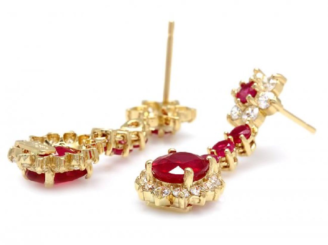 14k Yellow Gold 5ct Ruby 1.60ct Diamond Earrings - 2