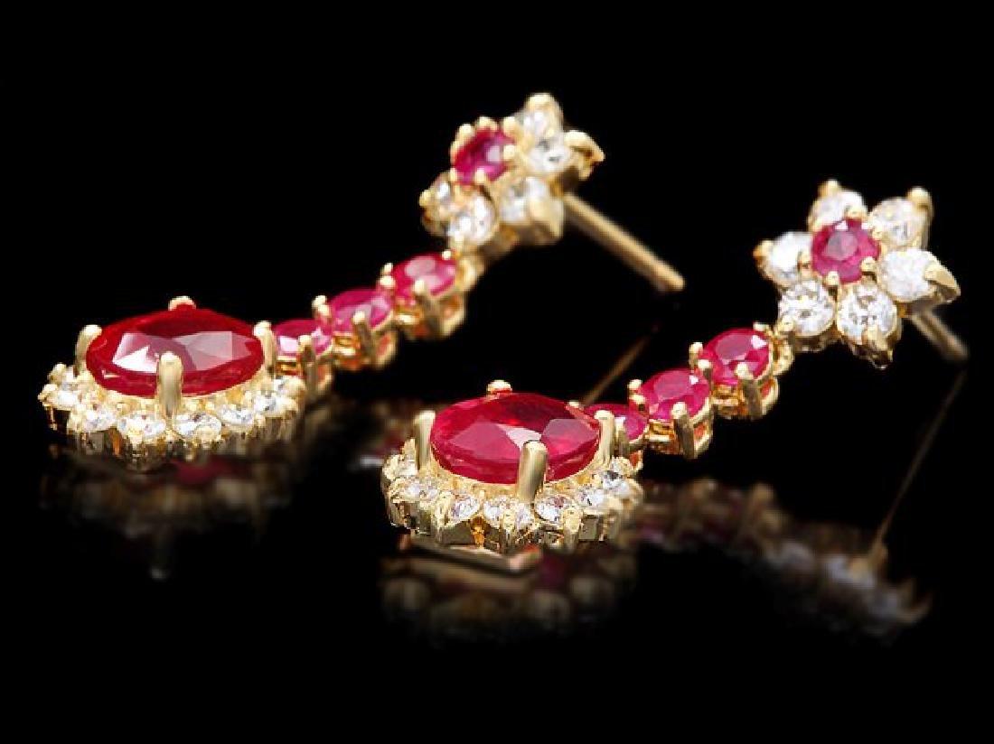 14k Yellow Gold 5ct Ruby 1.60ct Diamond Earrings - 3