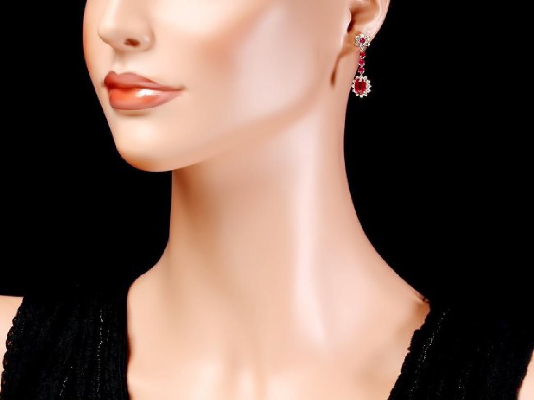 14k Yellow Gold 5ct Ruby 1.60ct Diamond Earrings - 4