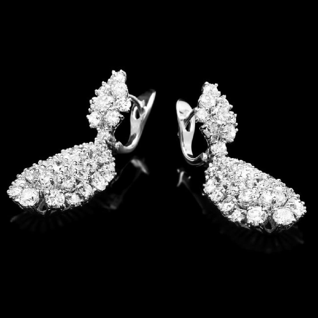 14k Gold 5.32ct Diamond Earrings - 2