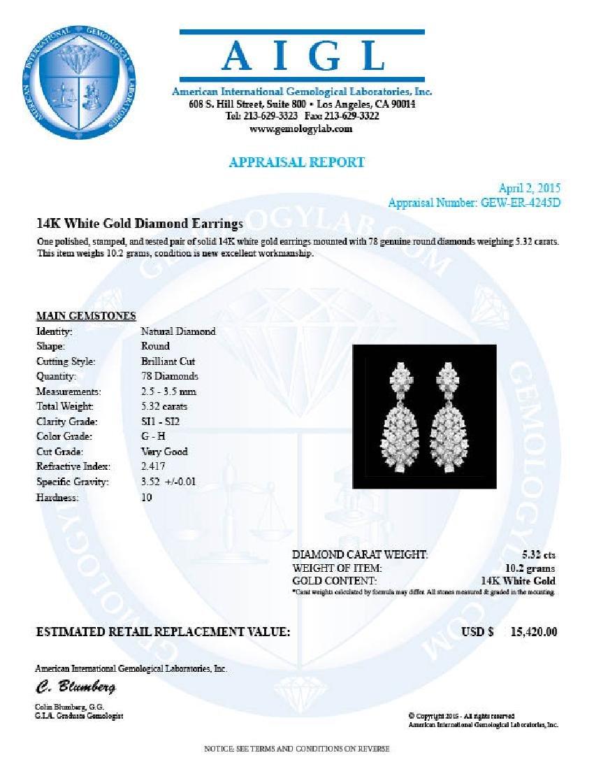 14k Gold 5.32ct Diamond Earrings - 3