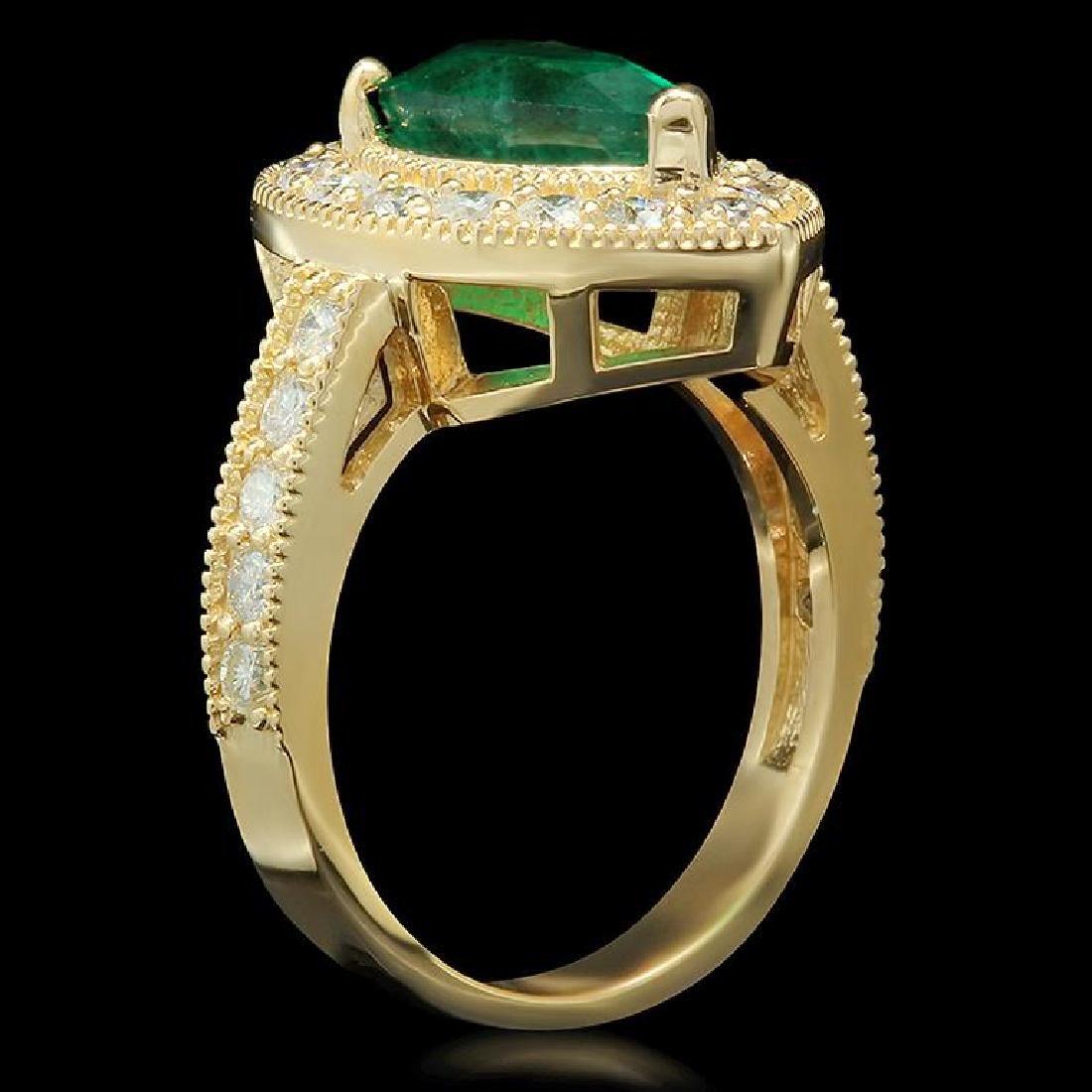 14K Gold 2.21ct Emerald 1.20ct Diamond Ring - 2