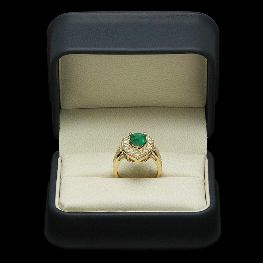 14K Gold 2.21ct Emerald 1.20ct Diamond Ring - 3