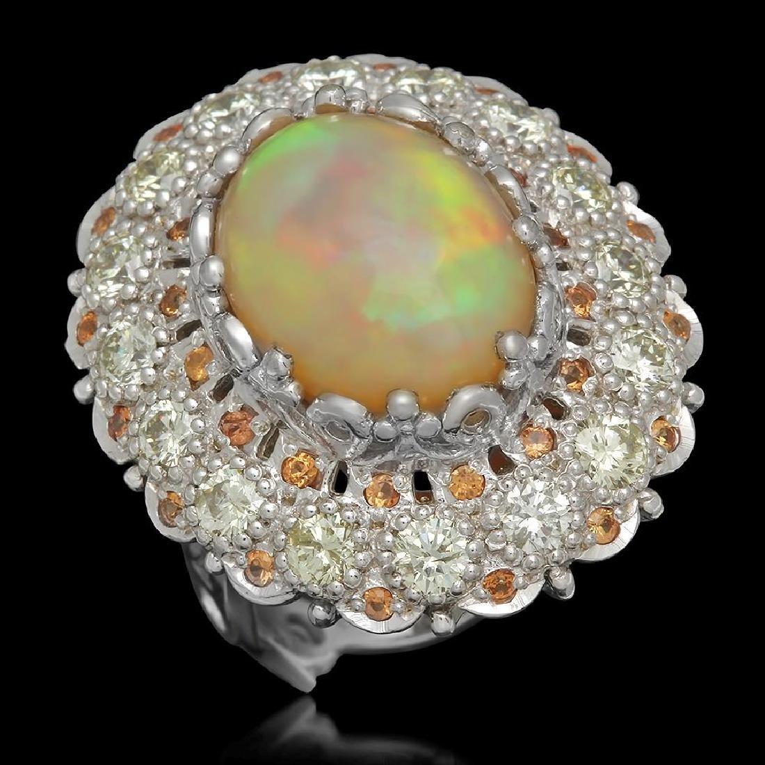 14K Gold 7.12ct Opal 0.48ct Sapphire 2.20ct Diamond