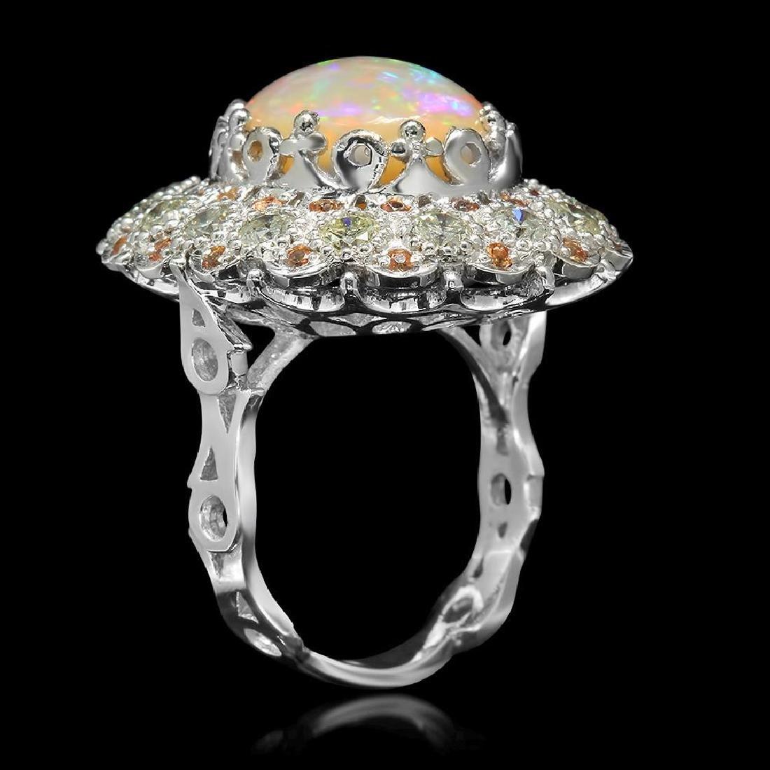 14K Gold 7.12ct Opal 0.48ct Sapphire 2.20ct Diamond - 2