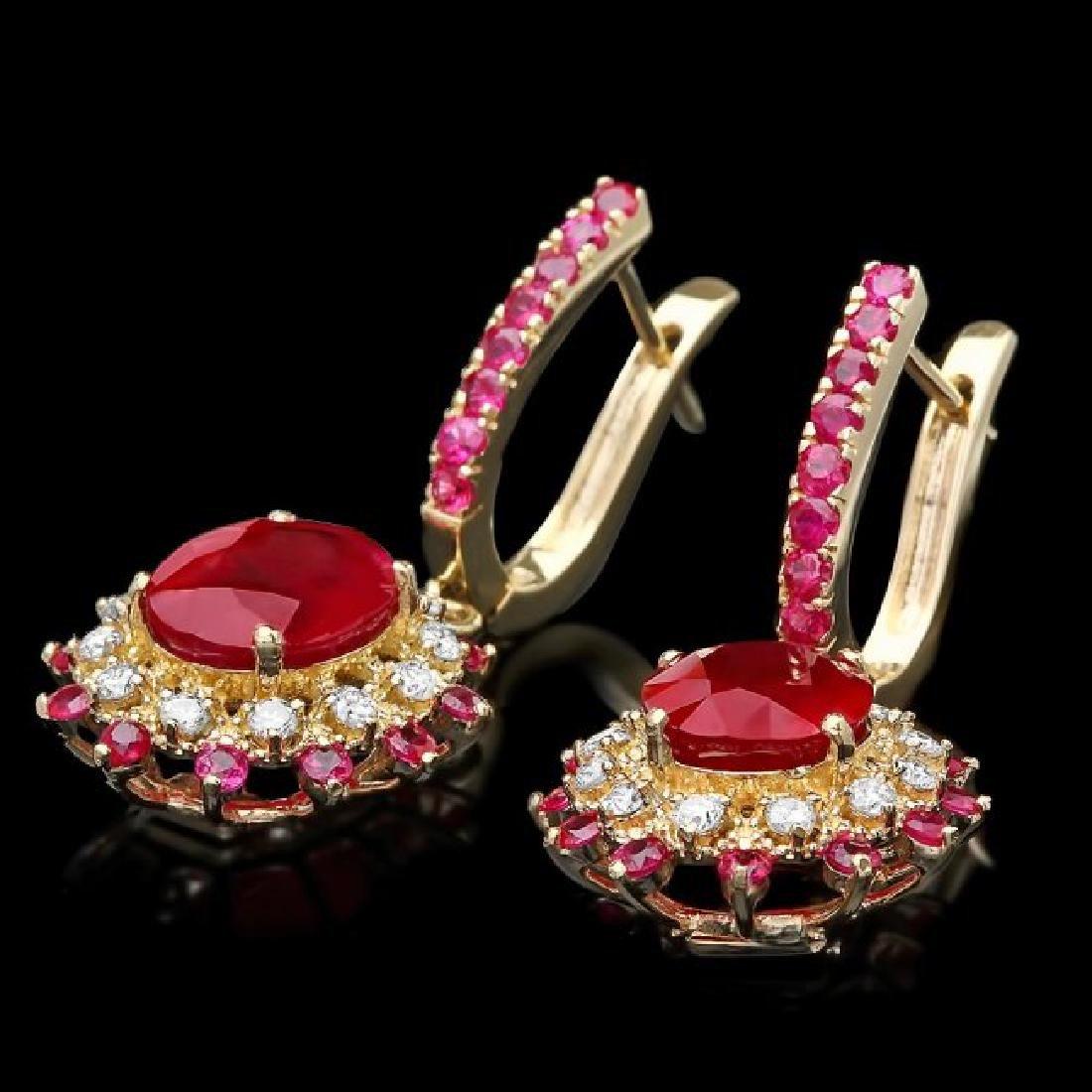 14k Gold 8.55ct Ruby 0.60ct Diamond Earrings