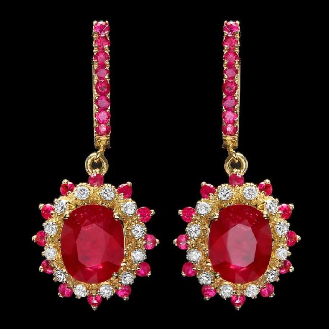 14k Gold 8.55ct Ruby 0.60ct Diamond Earrings - 2