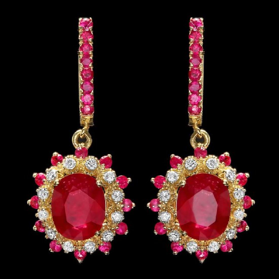 14k Gold 8.55ct Ruby 0.60ct Diamond Earrings - 2