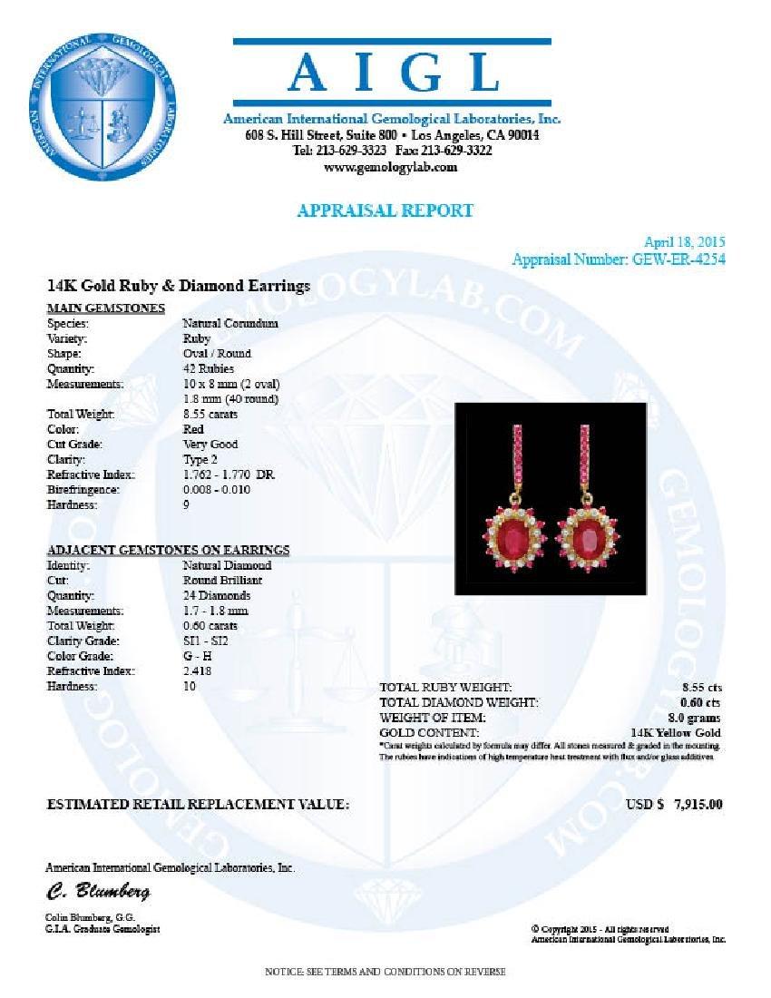 14k Gold 8.55ct Ruby 0.60ct Diamond Earrings - 3
