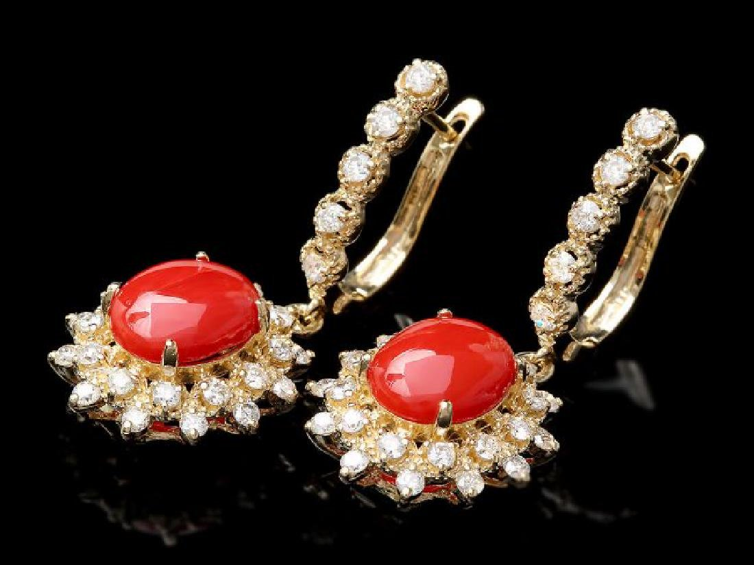 14k Gold 4.00ct Coral 1.50ct Diamond Earrings - 3