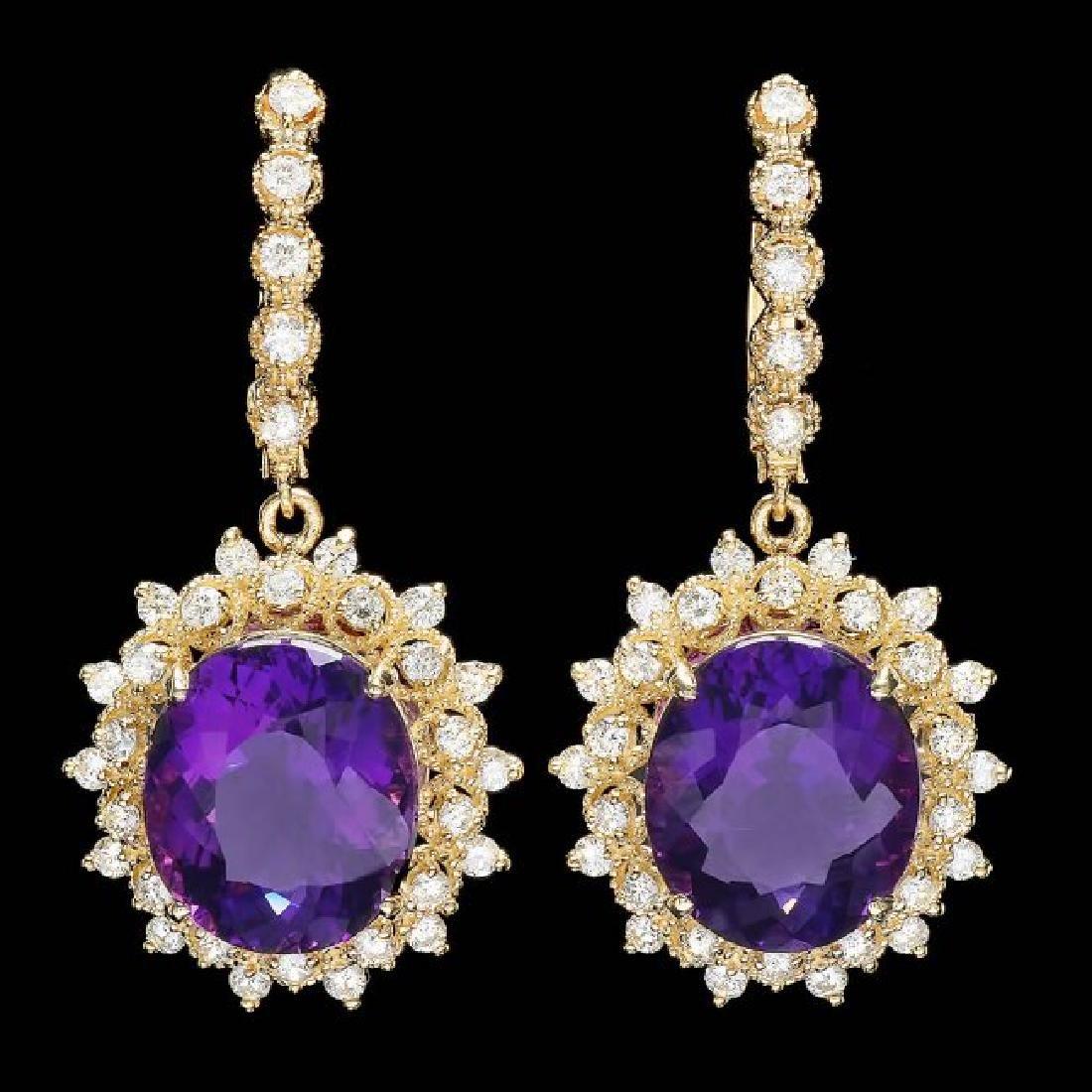 14k Gold 16ct Amethyst 1.8ct Diamond Earrings