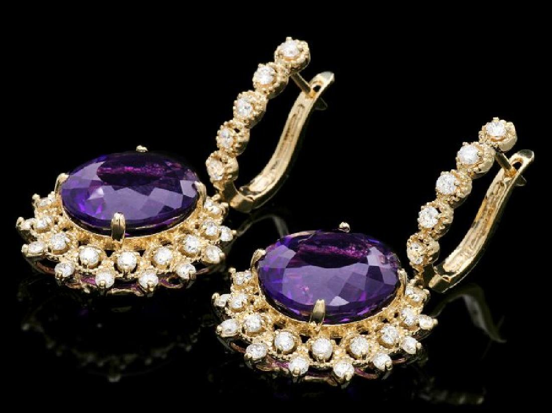 14k Gold 16ct Amethyst 1.8ct Diamond Earrings - 2
