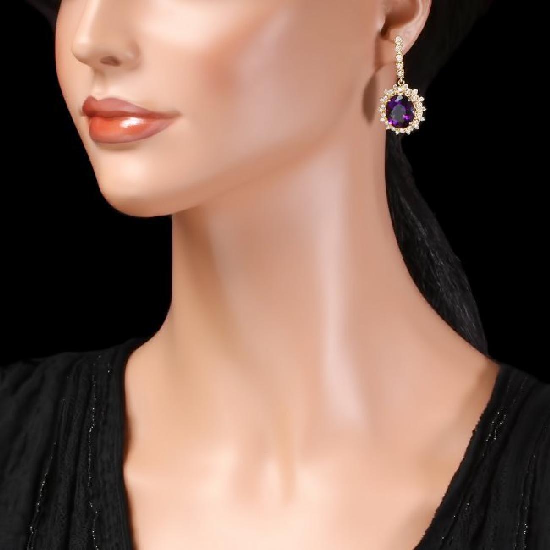 14k Gold 16ct Amethyst 1.8ct Diamond Earrings - 3