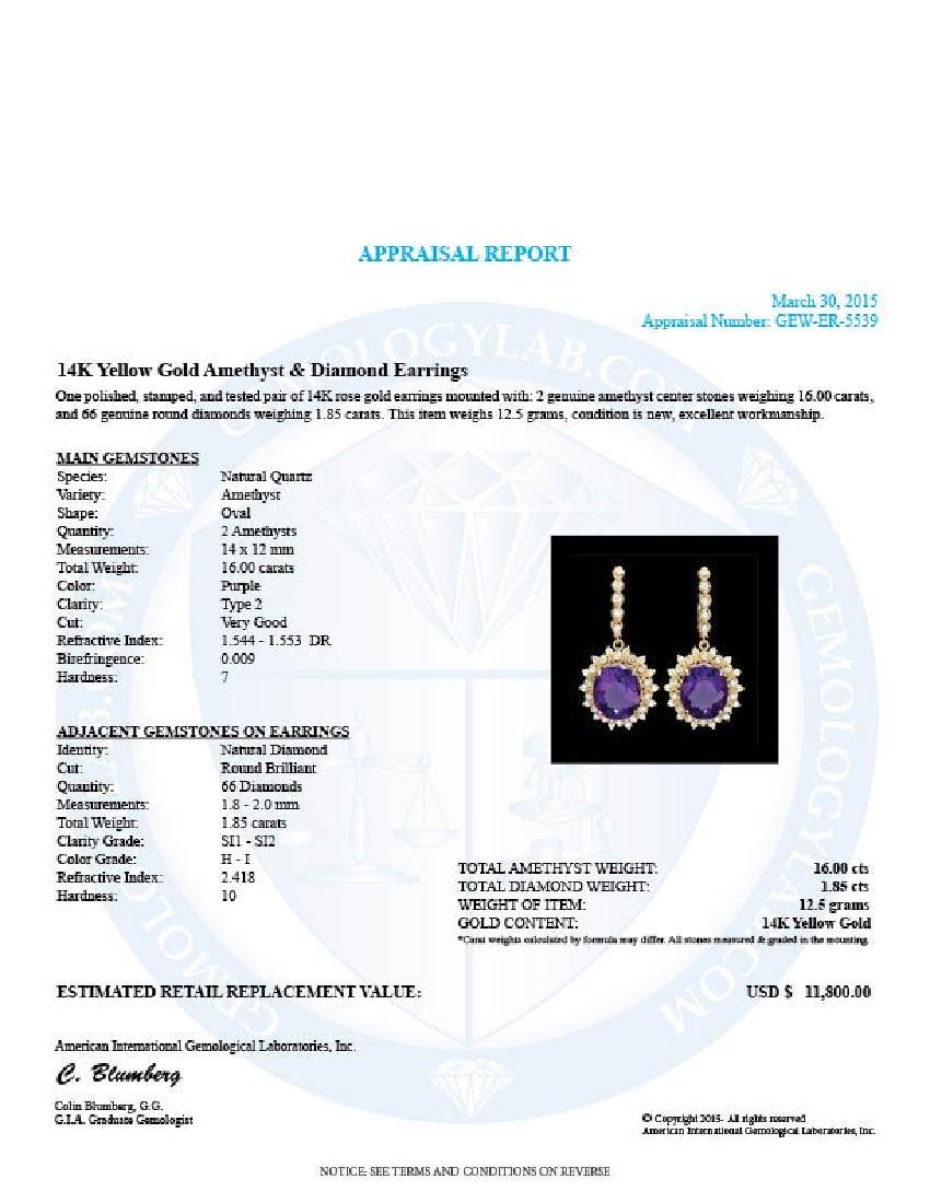 14k Gold 16ct Amethyst 1.8ct Diamond Earrings - 4