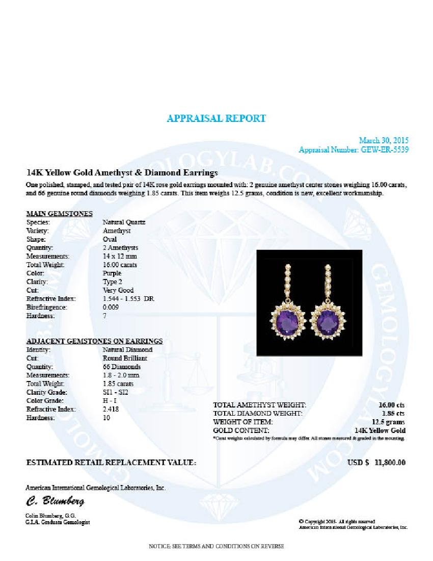 14k Gold 16ct Amethyst 1.8ct Diamond Earrings - 4