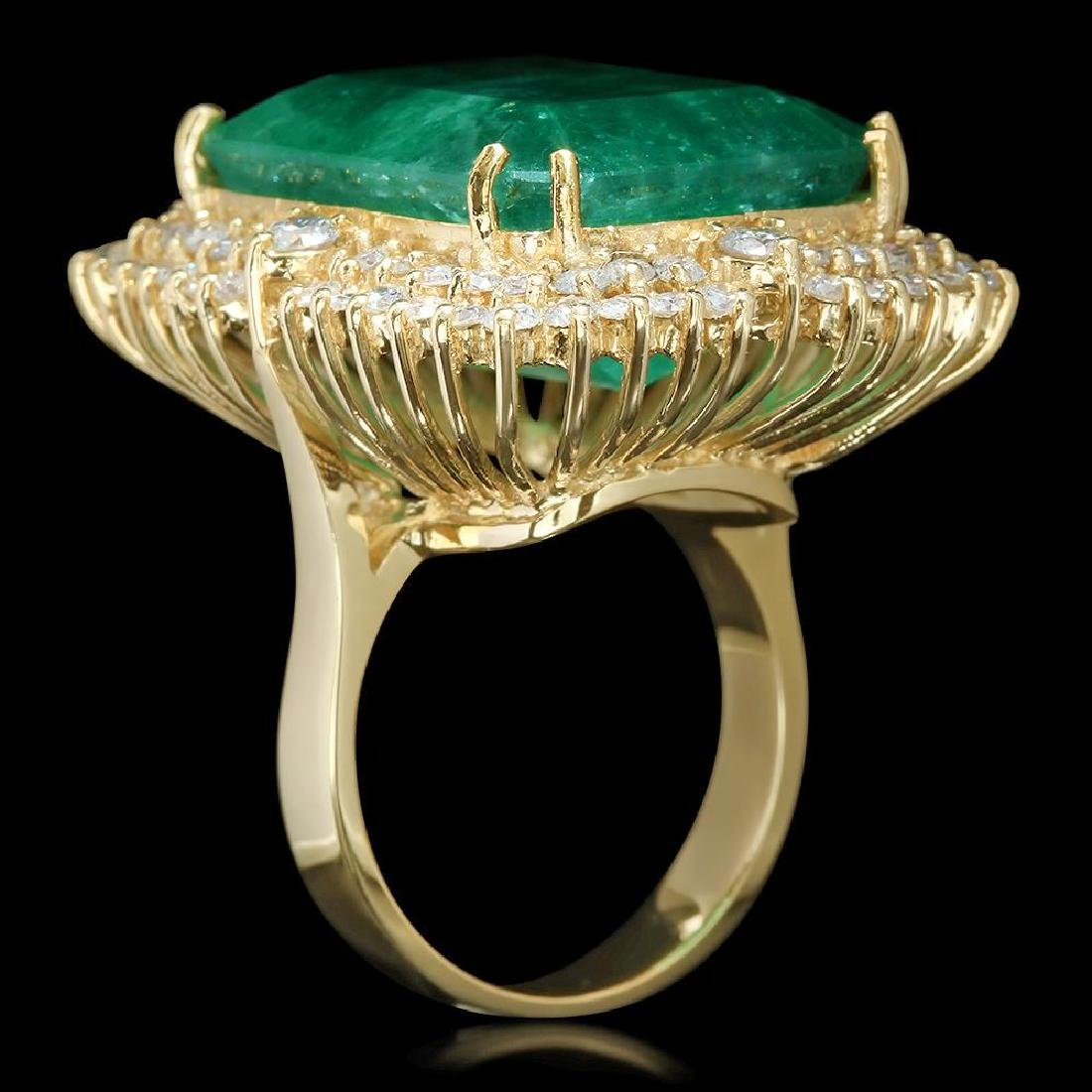 14K Gold 29.27 Emerald 2.52 Diamond Ring - 2