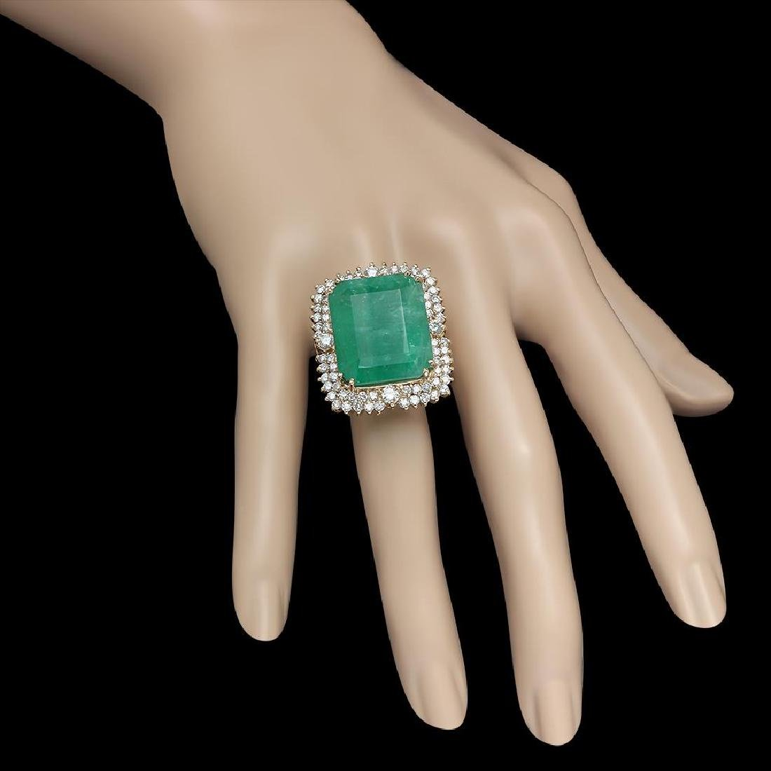 14K Gold 29.27 Emerald 2.52 Diamond Ring - 3