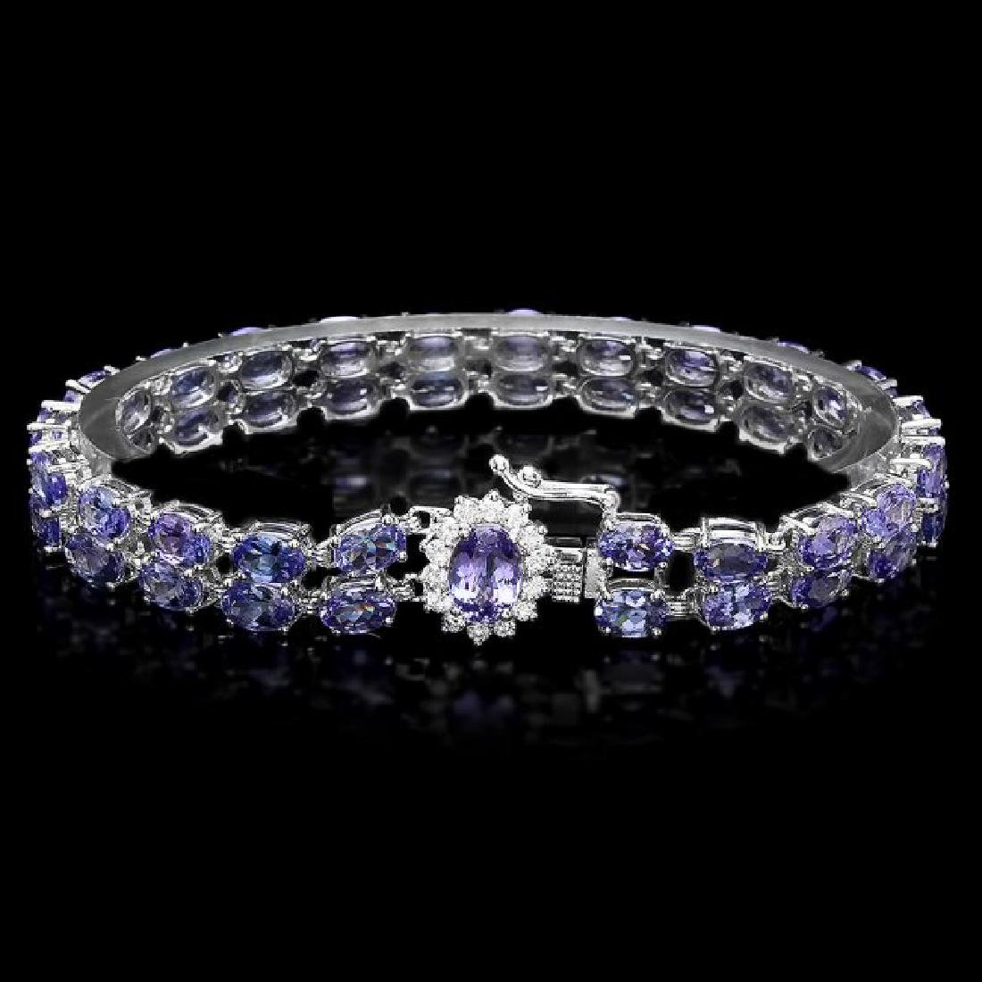 14k 22.35ct Tanzanite 0.45ct Diamond Bracelet - 2