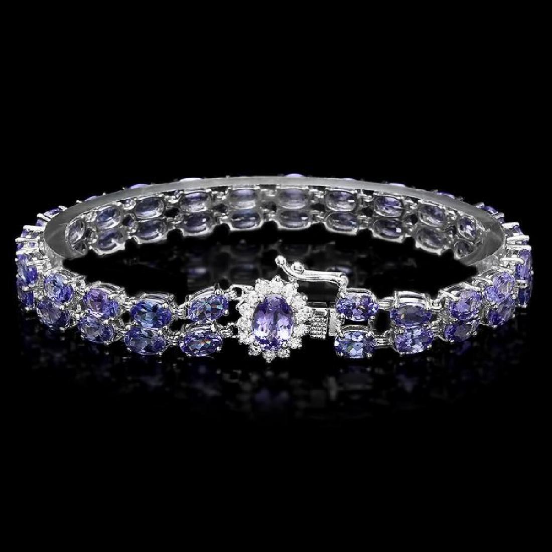 14k 22.35ct Tanzanite 0.45ct Diamond Bracelet - 2