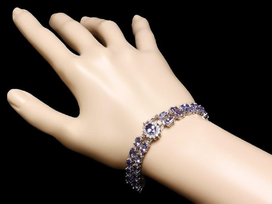 14k 22.35ct Tanzanite 0.45ct Diamond Bracelet - 4
