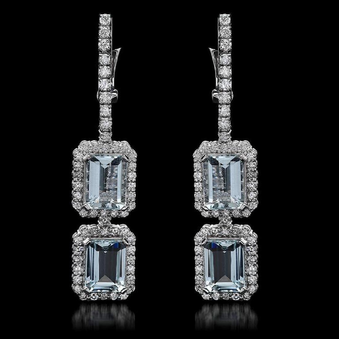14k Gold 6.70ct Aquamarine & 2.15ct  Diamond Earrings